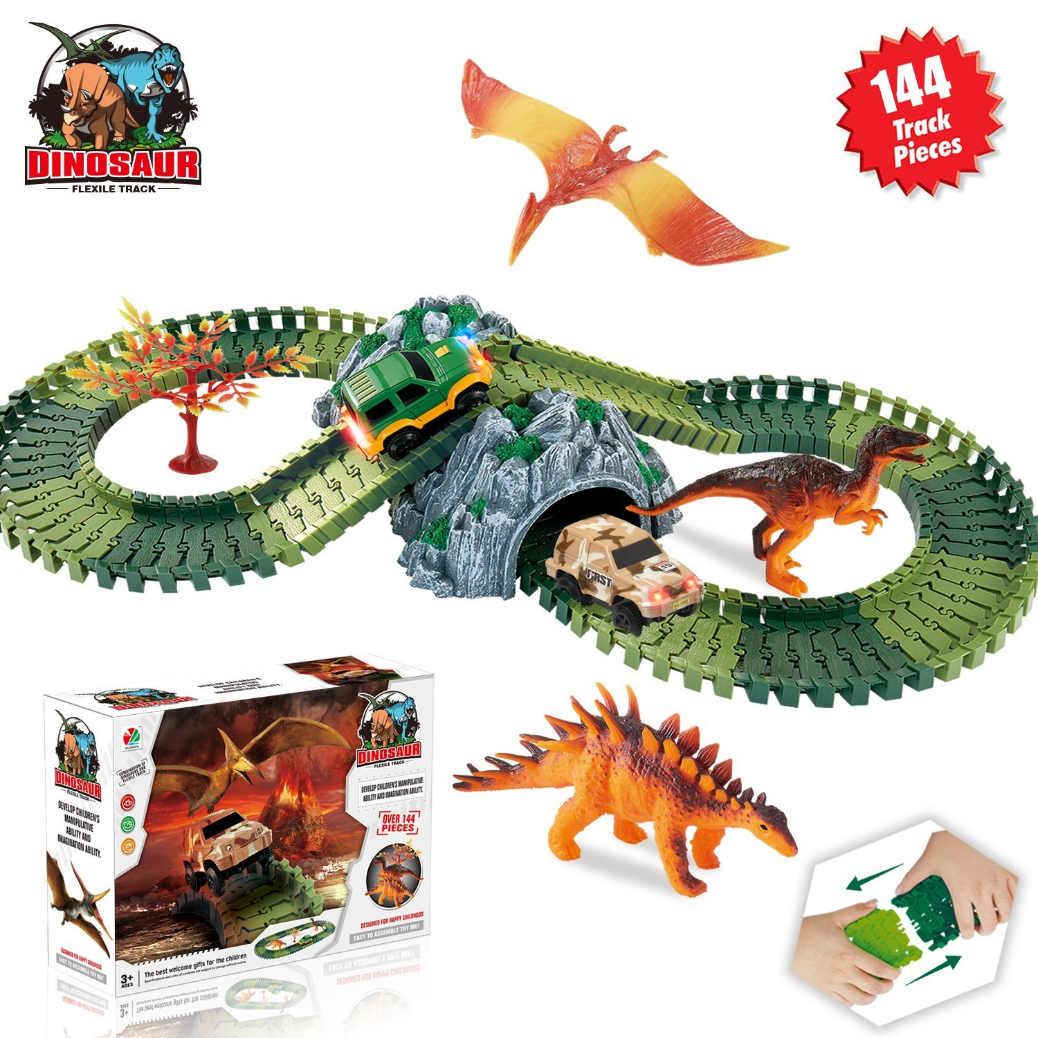 HOMOFY Dinosaur Toys Race Car Track Sets Jurassic World with 144 Pcs Flexible Tracks, 3 Dinosaurs,2 Led Cars,1 Tree and 2 In 1 Tunnel for 2 3 4 Year Old Girls and Boys-Super Fun Dinosaur Toys