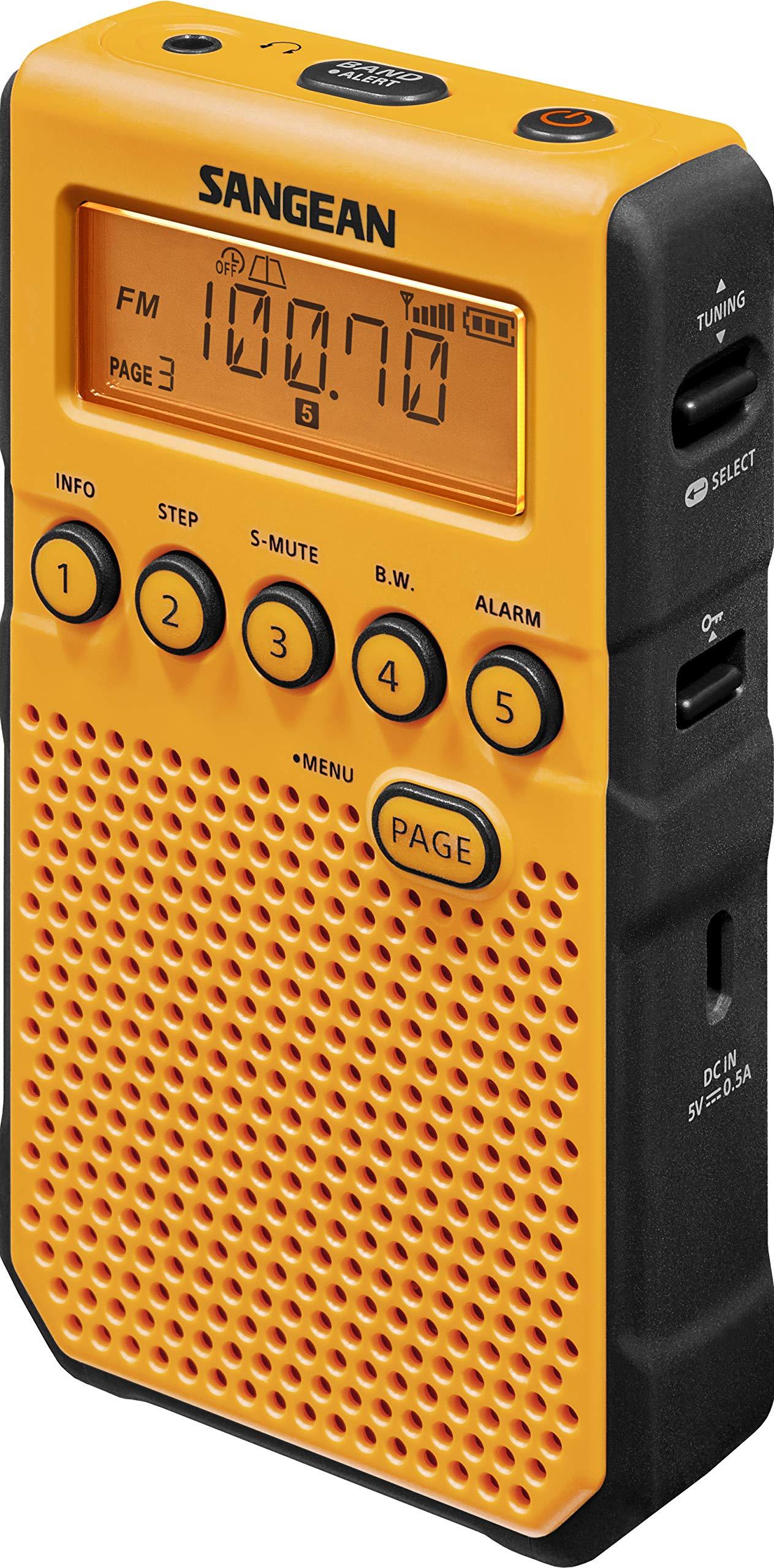 Sangean DT-800YL AM / FM / NOAA Weather Alert Rechargeable Pocket Radio (Yellow) by Saugeen America, Inc. (Image #3)