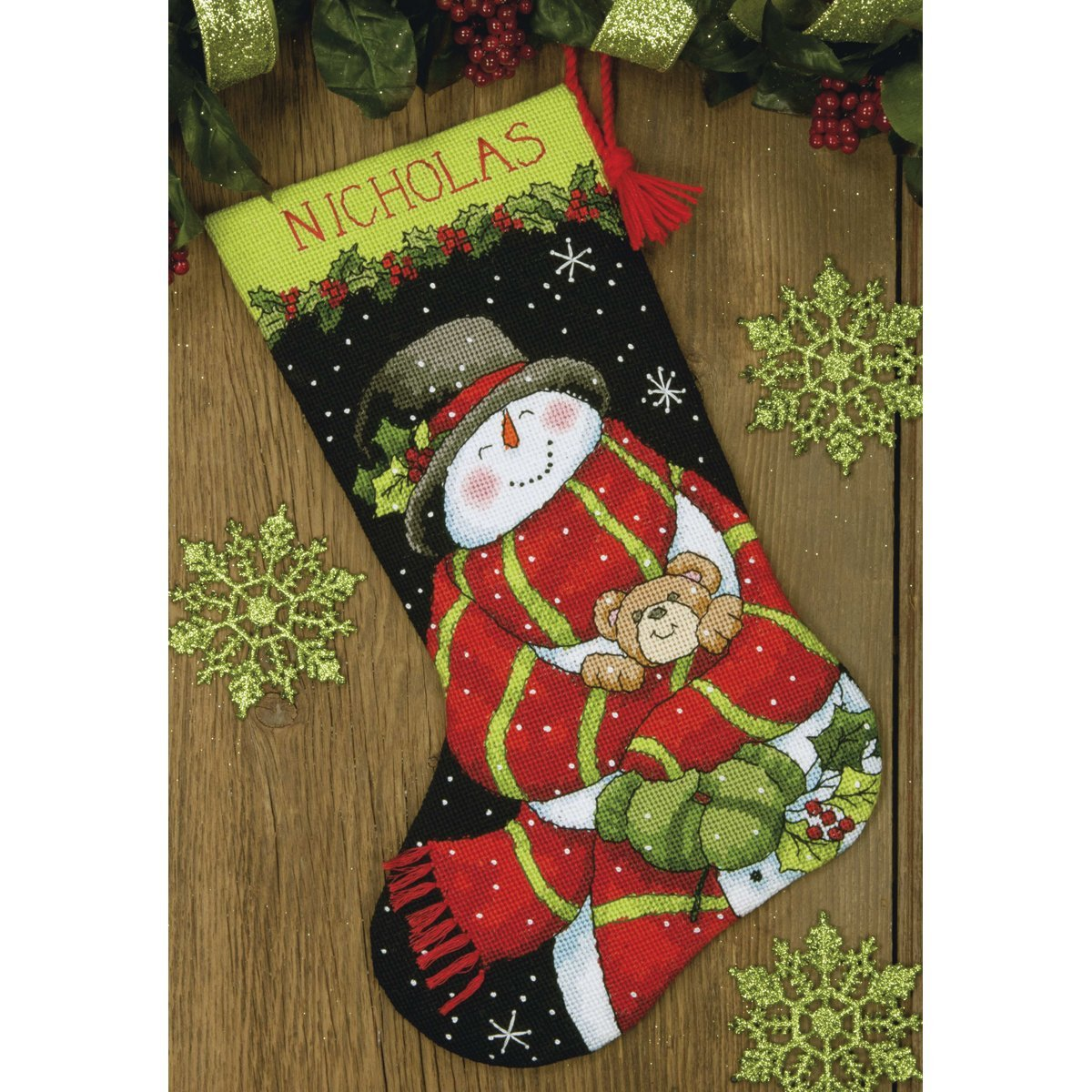 Dimensions Needlepoint Snowman And Bear Personalized Christmas Stocking Kit Printed 12 Mesh Canvas 16