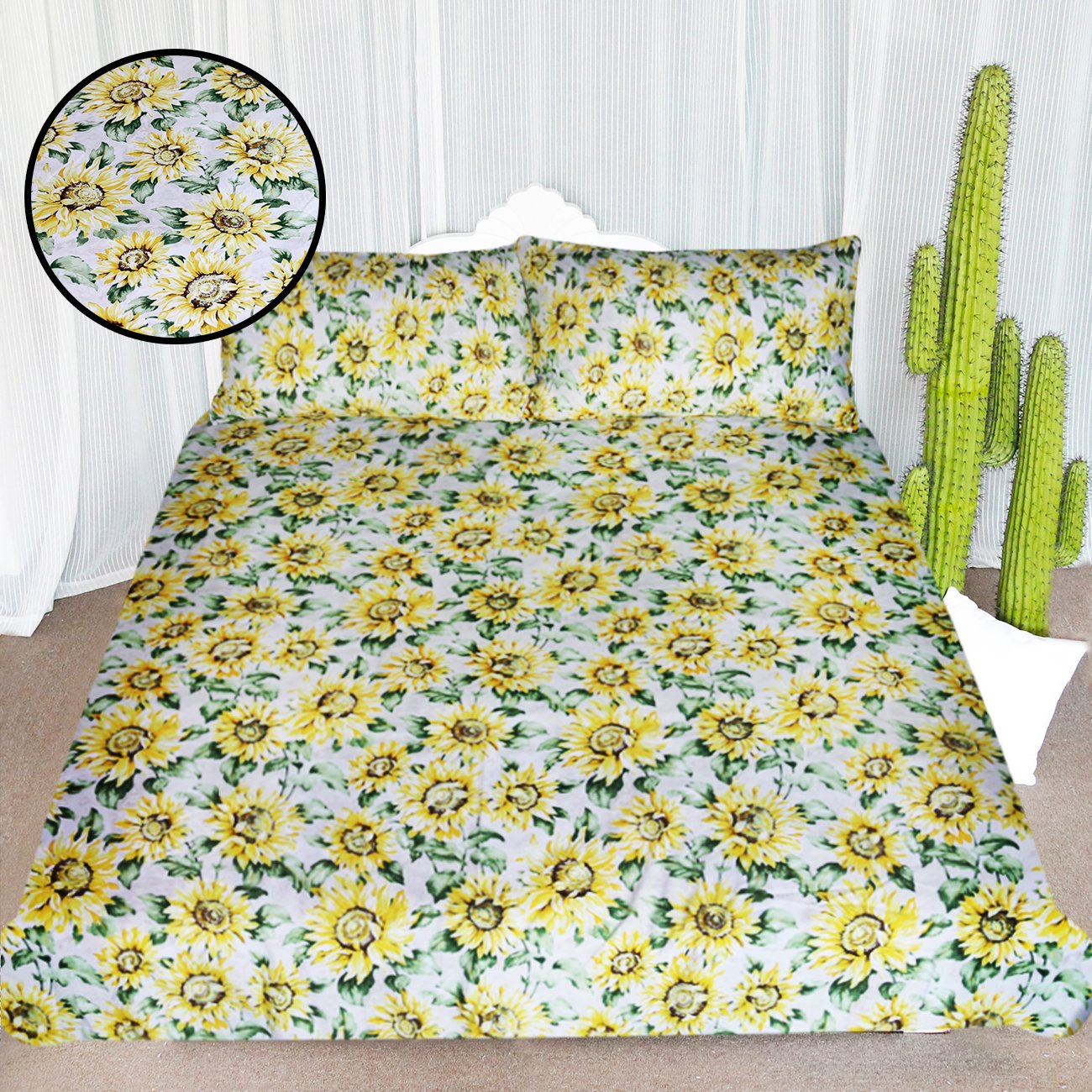 ARIGHTEX Fashion Sunflower Bedding Women Girls Floral Nature Pattern Duvet Cover 3 Piece Set Rustic Country Design Bedspread, Yellow Green (Twin)