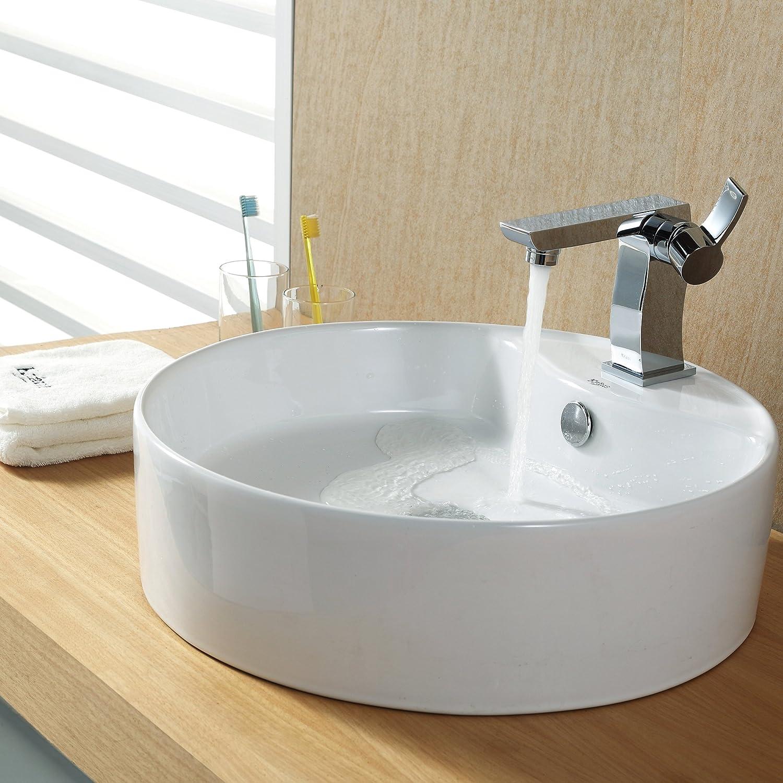 Kraus KEFCH Sonus Single Lever Basin Bathroom Faucet Chrome - Bathroom sink and faucet set