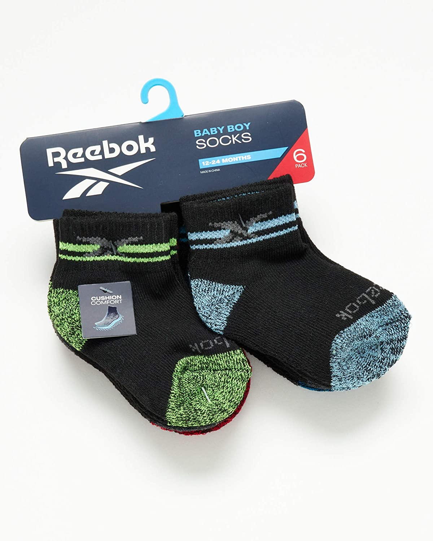 Reebok Boys 6 Pack Comfort Cushion Quarter Cut Socks (Infant/Toddler)
