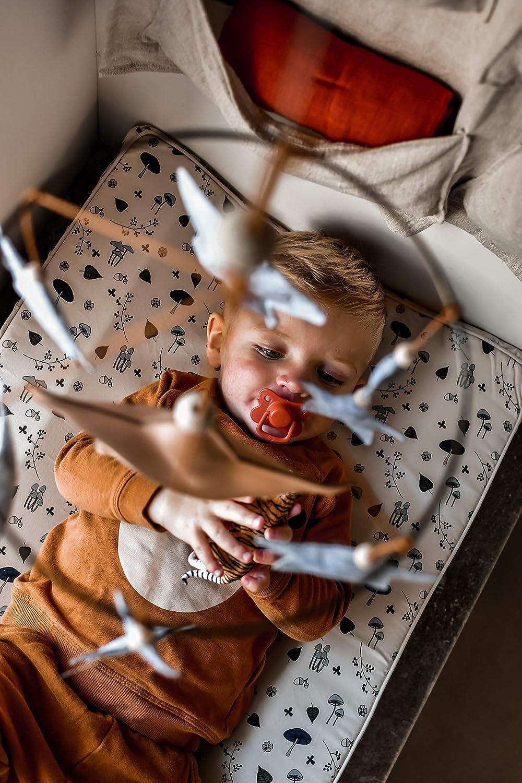 wasserabweisende Wickelunterlage Filibabba/® Deluxe Wickelauflage 2-Keil 65 x 50 cm Bio Baumwolle D/änisches Design Airballoon Dusty Rose PU beschichtet Wickeltischauflage abwaschbar