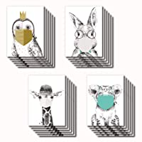 Masked Animal Cards Boxed Set - 24 Blank Quarantine Animal Cards w/White Envelopes - Whimsical Sketch Designs - Personalized Stationery Printed in the USA by RitzyRose