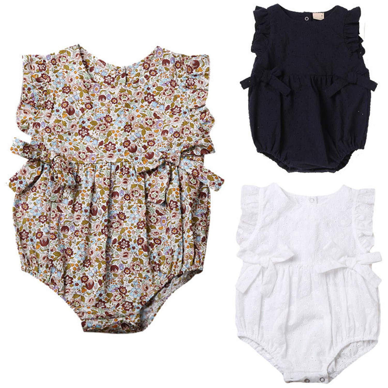 Cute Newborn Baby Girls Floral Romper Bowknot Clothes One Pieces Jumpsuit Outfit