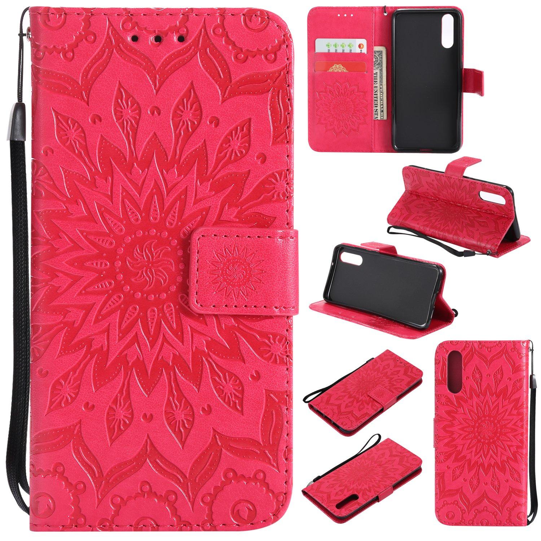 Lomogo Coque Huawei P20, Housse en Cuir Portefeuille avec Porte Carte Fermeture par Rabat Aimanté Anti Choc Etui de Protection pour Huawei P20 - LOKTU21203 Or Rose