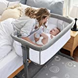 TCBunny 2-in-1 Baby Bassinet & Bedside Sleeper, Adjustable Portable Crib Bed for Infant/Newborn Baby, Grey(Mosquito Net Not I