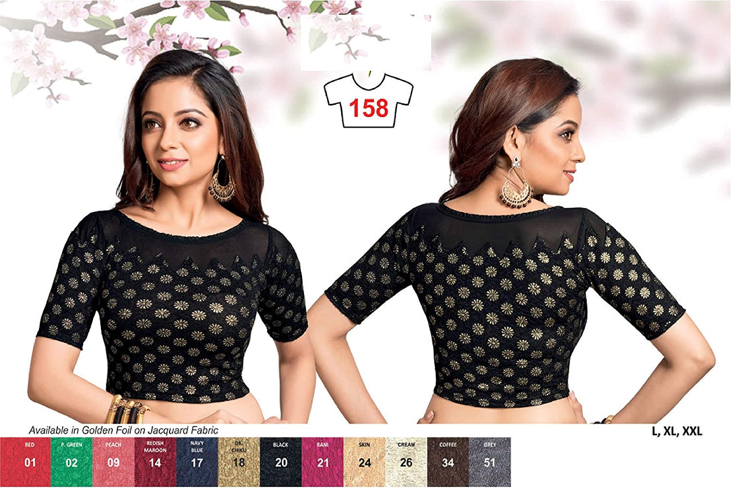Stitched Designer Blouse Black Stretchable Fabric Readymade Saree Blouse Choli Top Tunic For Women Party wear,Daily Wear,Casual Wear