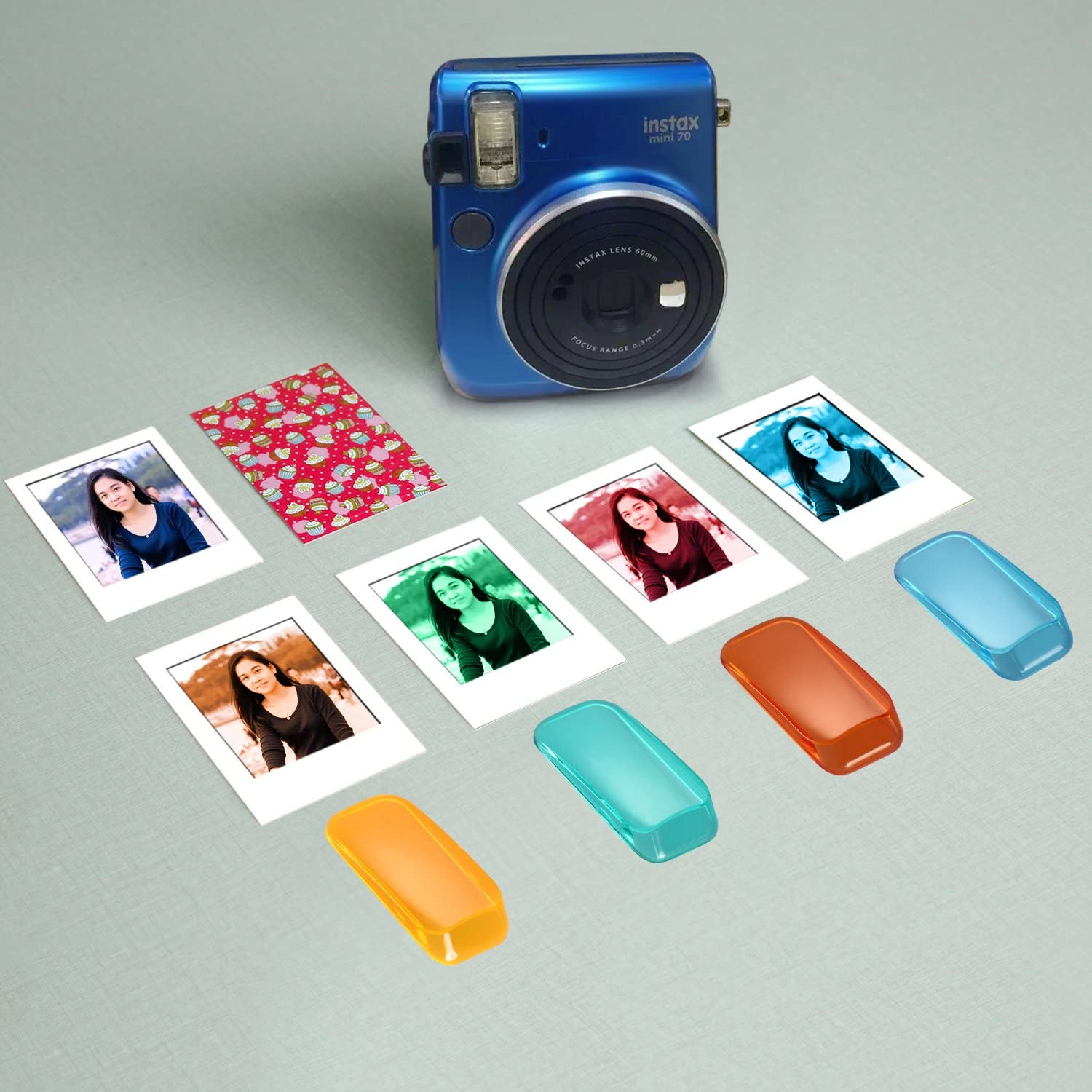 Photo Instant Films Stickers Neewer 56-in-1 Accessory Kit for Fujifilm Instax Mini 70 Color Filters Various Frames Blue Corner Stickers Book Album Includes: Camera Case with Adjustable Strap