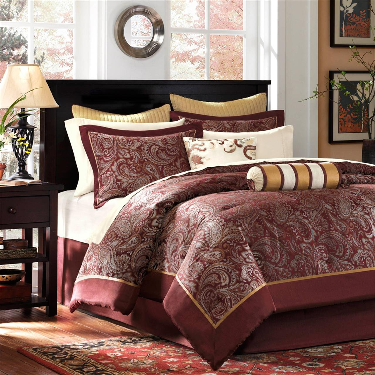 Burgundy , Paisley Jacquard – 12 Pieces Bedding Sets – Ultra Soft Microfiber Bedroom Comforters