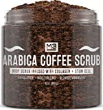 M3 Naturals Arabica Coffee Scrub Infused with Collagen and Stem Cell - Natural Body and Face Scrub for Acne, Cellulite…