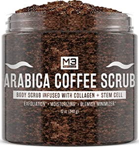 M3 Naturals Arabica Coffee Scrub Infused with Collagen and Stem Cell - Natural Body and Face Scrub for Acne, Cellulite, Stretch Marks, Spider Veins, Scars - Skin Care Exfoliator 12 oz