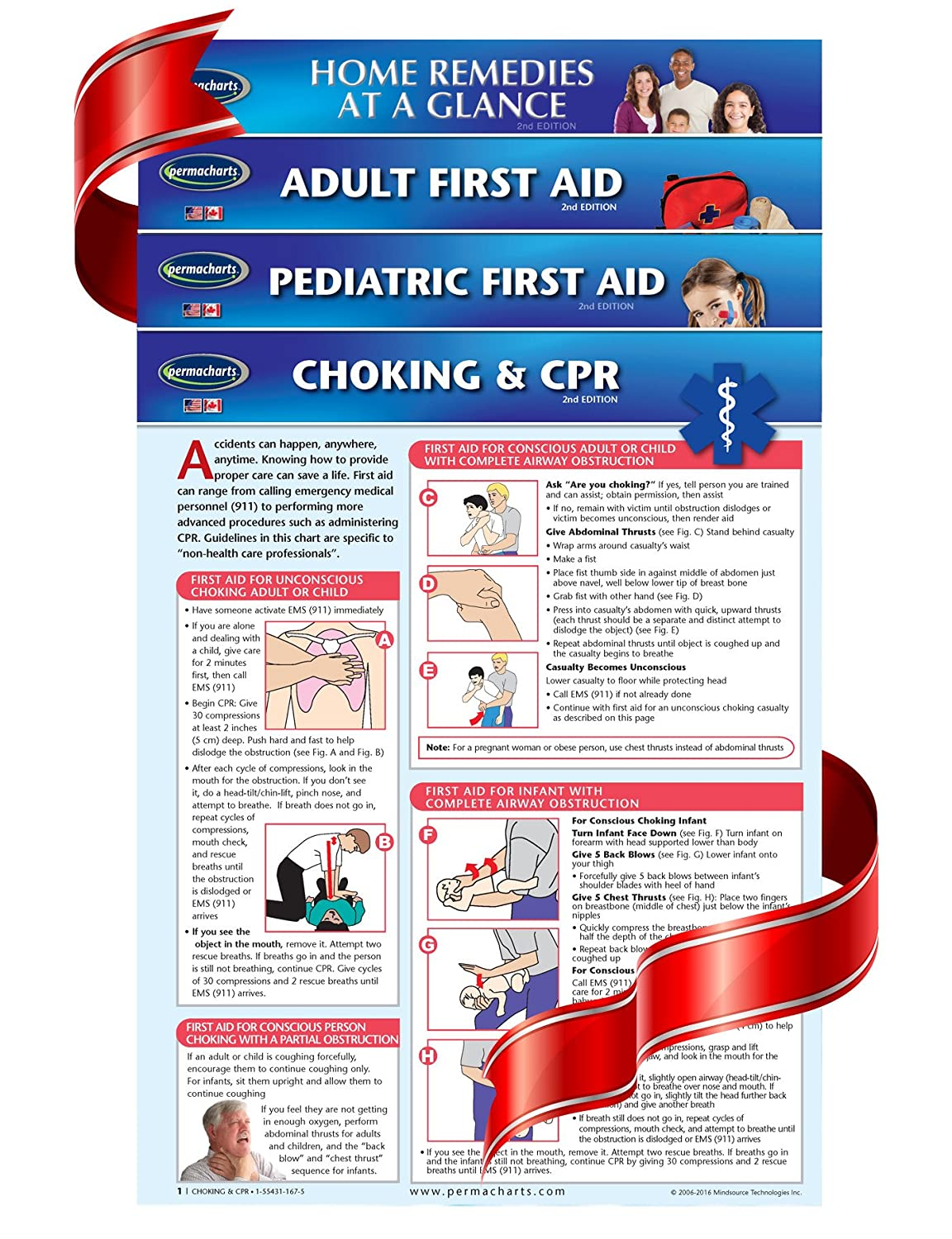 ARC-AHA Guidelines Adult CPR FIRST AID Instructional Wall Chart Poster
