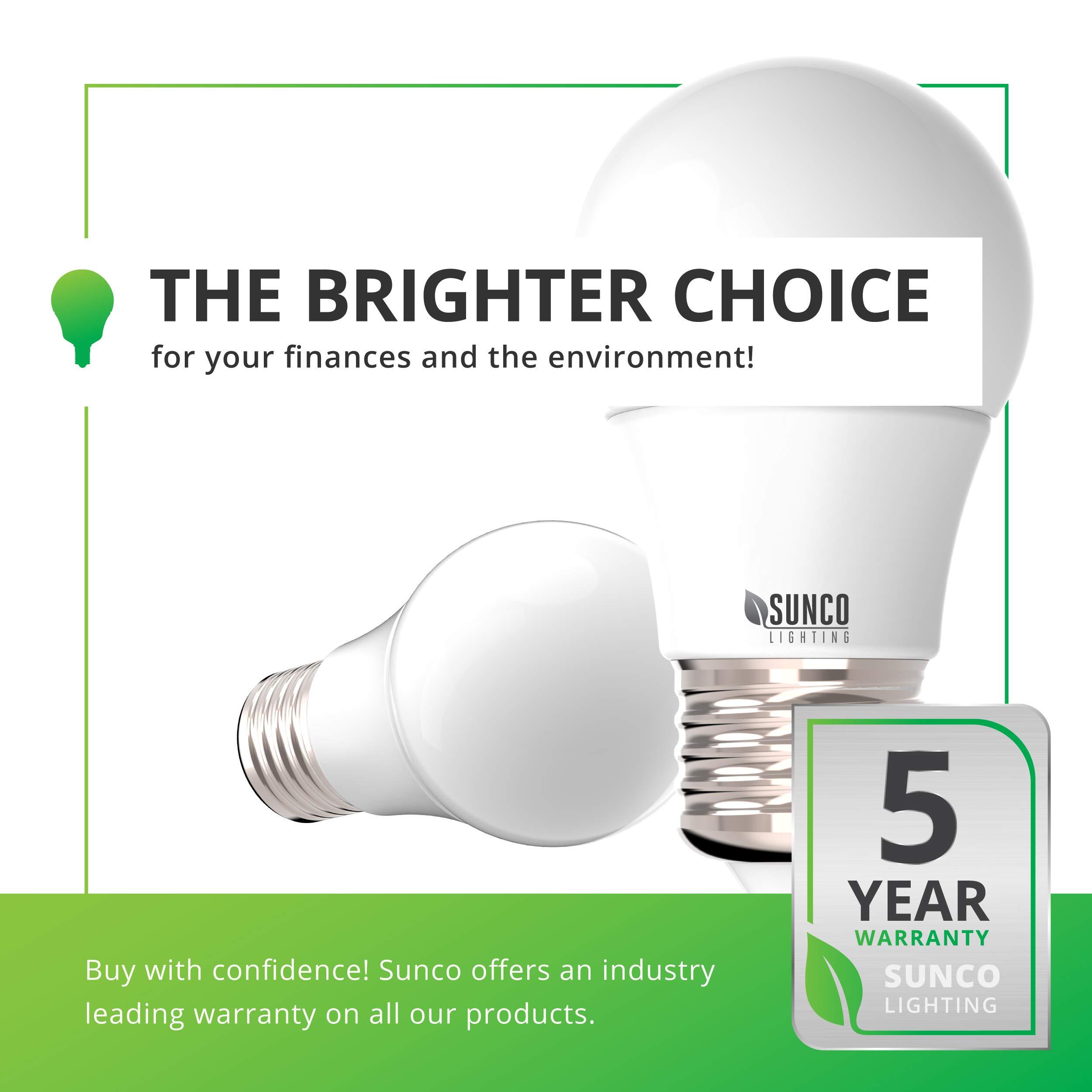 Sunco Lighting 10 Pack A15 LED Bulb, 8W=60W, 3000K Warm White, Dimmable, 800 LM, E26 Base, Refrigerator & Fan Light - UL, Energy Star by Sunco Lighting (Image #8)