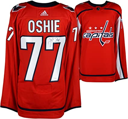 the best attitude c285d 1f9bf T.J. Oshie Washington Capitals Autographed Red Adidas ...