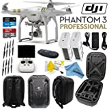 DJI Phantom 3 Professional Quadcopter Drone with 4K UHD Video Camera w/ CS Hard Shell Case and Spare Battery Bundle