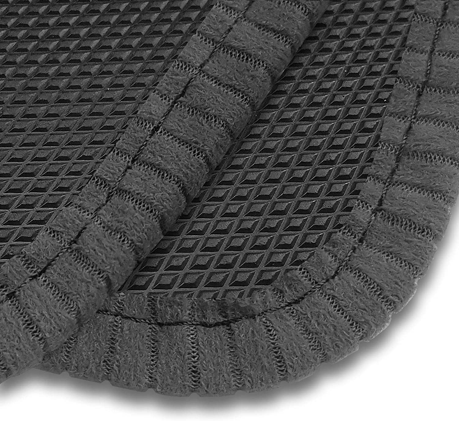 Rubber Car Mats for Outlander Phev Hybrid 2014+ Diamond Finish With Durable Beige Ribbed Trim