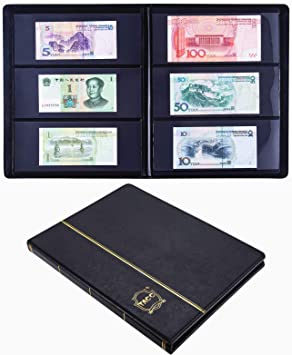 Paper Money Collection Album Storage 60 Pockets Banknote Holder Book Black