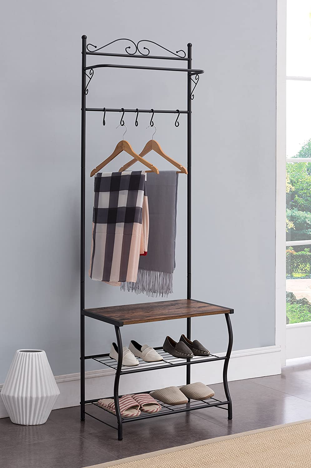 Kings Brand Furniture - Entryway Shoe Bench, Coat Rack, Hall Tree Storage Organizer with Hooks M03