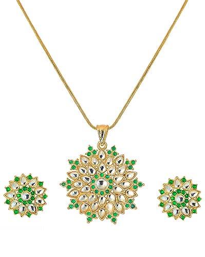 Buy Touchstone Gold Finish Austrian Diamond Pendant Set With Chain