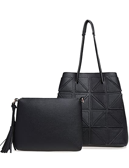 32bd4ff5972 Image Unavailable. Image not available for. Color  New Women Simple  Patchwork Bucket Tassel Satchel Leather Shoulder Bag ...