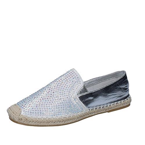 SARA LOPEZ - Alpargatas para Mujer Plateado Size: 36 EU: Amazon.es: Zapatos y complementos