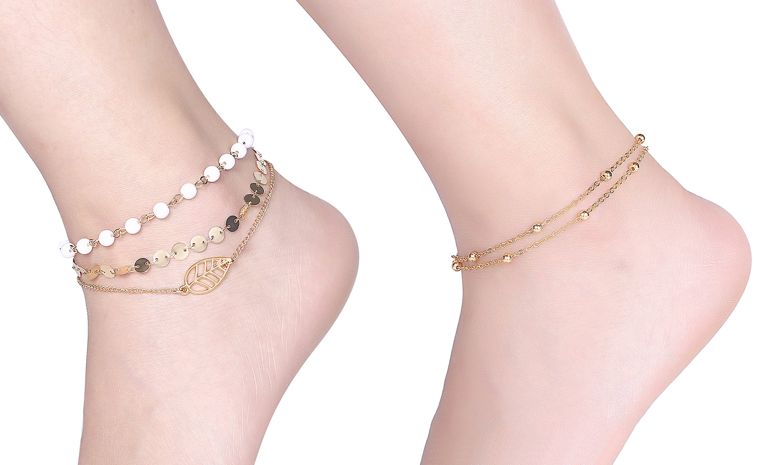Fesciory Women Anklet Adjustable Beach Ankle Chain Gold Alloy Foot Chain Bracelet Jewelry Gift For Girls (2 Pcs Set)