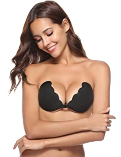 Aibrou Sujetador Invisible Adhesivo Silicona Reutilizable Push Up con Gel Adhesivo y Ajustable String para Juntar