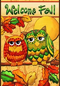 Toland Home Garden Fall Owls 12.5 x 18 Inch Decorative Colorful Autumn Leaves Owl Bird Welcome Garden Flag