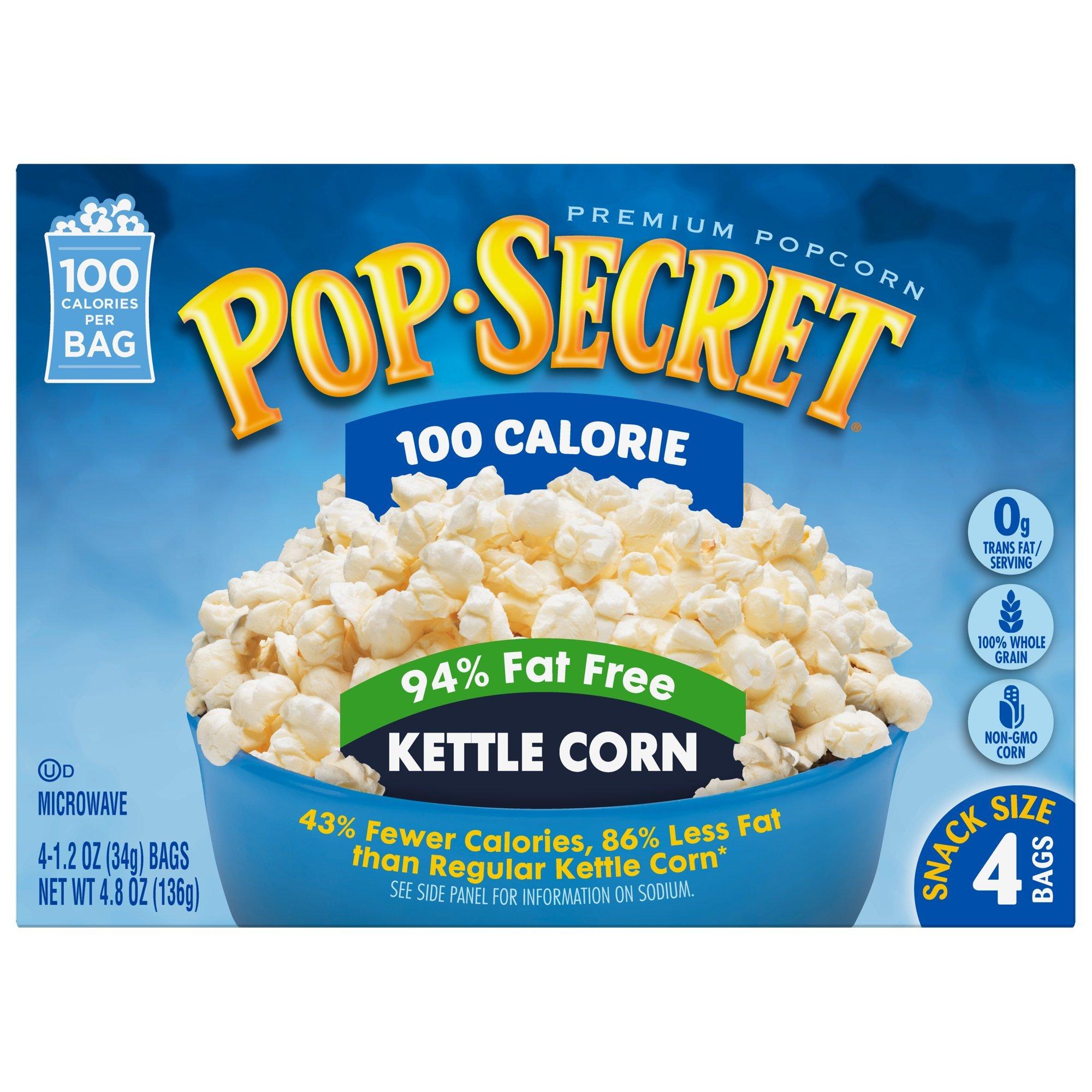 Pop Secret Microwave Popcorn, 100 Calorie 94% Fat Free Kettle Corn, 4 Count (Pack of 12) by Pop Secret