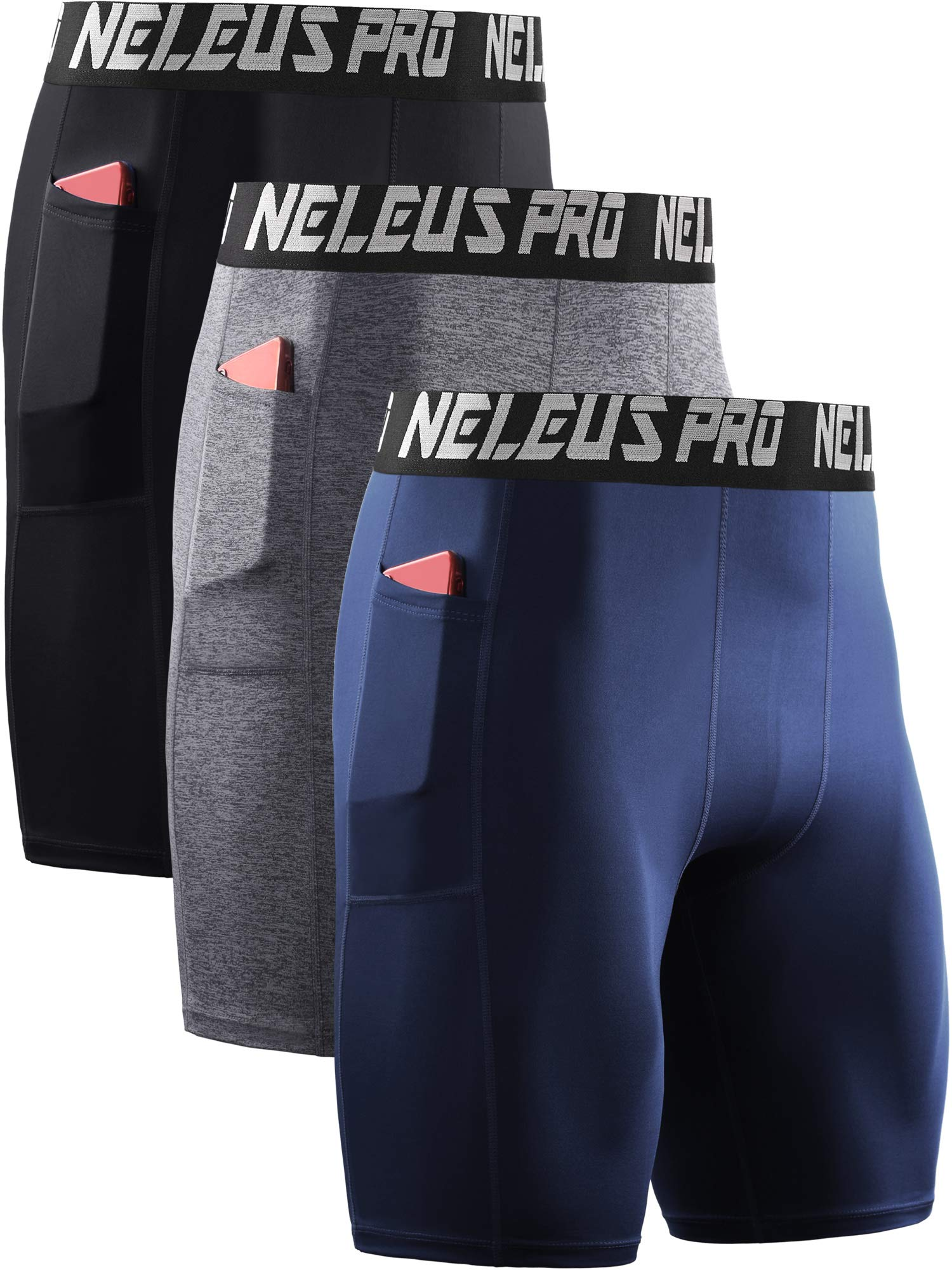 Neleus Men's 3 Pack Compression Shorts with Pockets,6063,Black/Grey/Navy Blue,US L,EU XL by Neleus