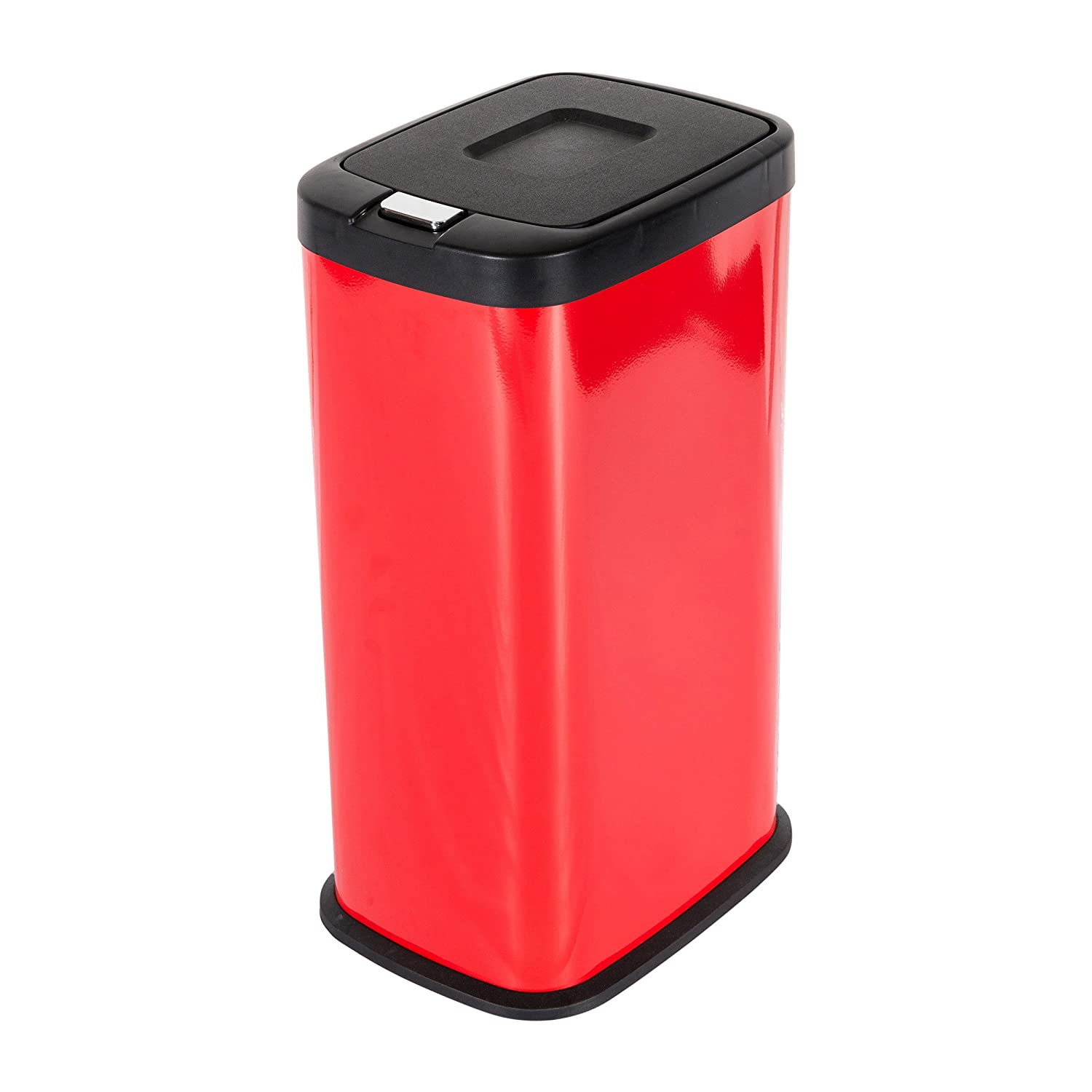 mari home red 38 litre steel push lid touch recycle bin dustbin