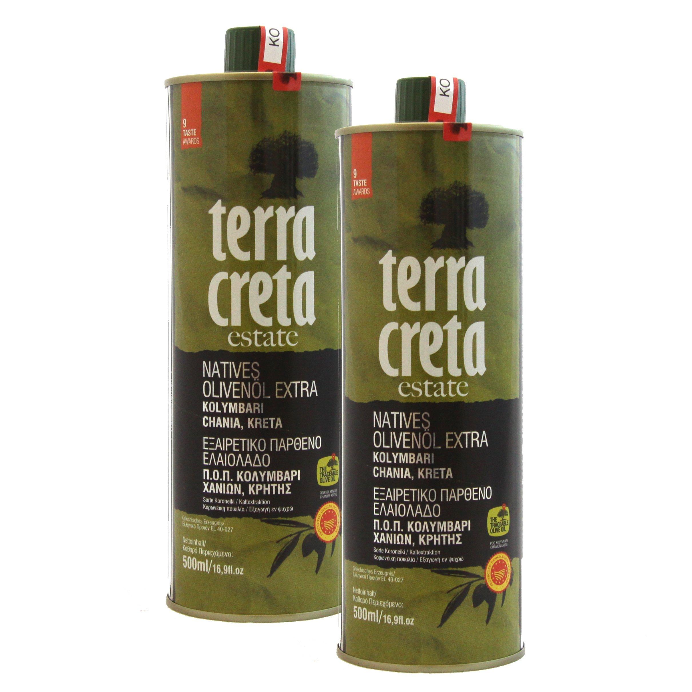 Terra Creta | Multiple Global Award Winning Extra Virgin Olive Oil | Current Harvest 2017-2018 | Single Estate Olive Oil | 500ml X 2 Tins | Pack of 2