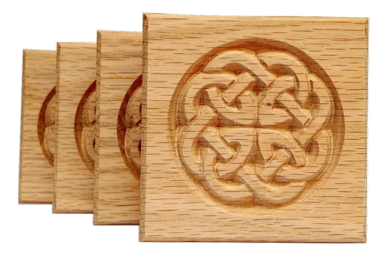 SET OF 4: Carved Celtic ''Dara'' Knot Rosette Blocks, Made in USA (3.5''x3.5'' RED OAK) by WagnerWood
