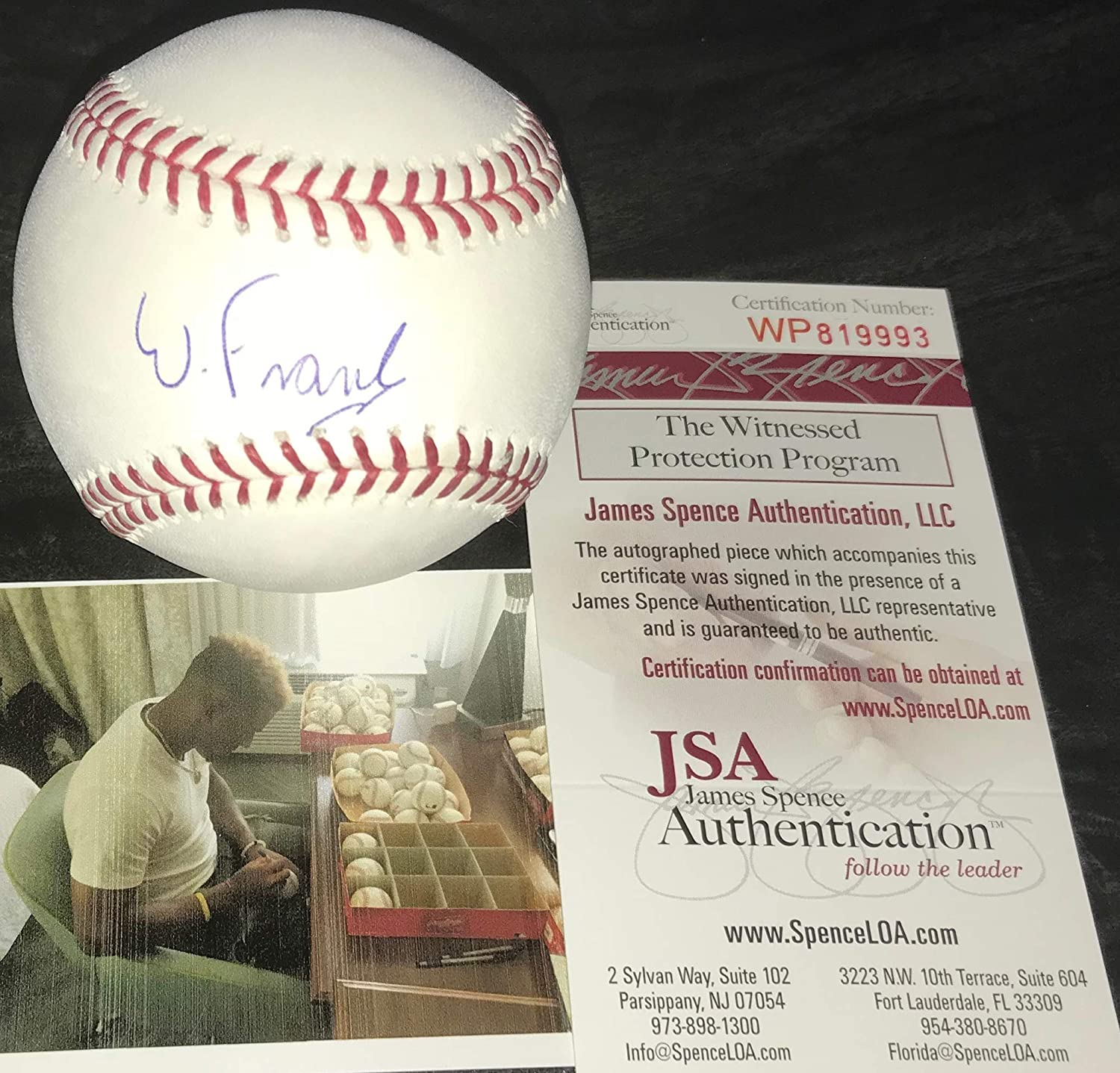 Wander Franco Tampa Bay Rays Autographed Signed Official Major League Baseball JSA WITNESS COA SidsGraphs