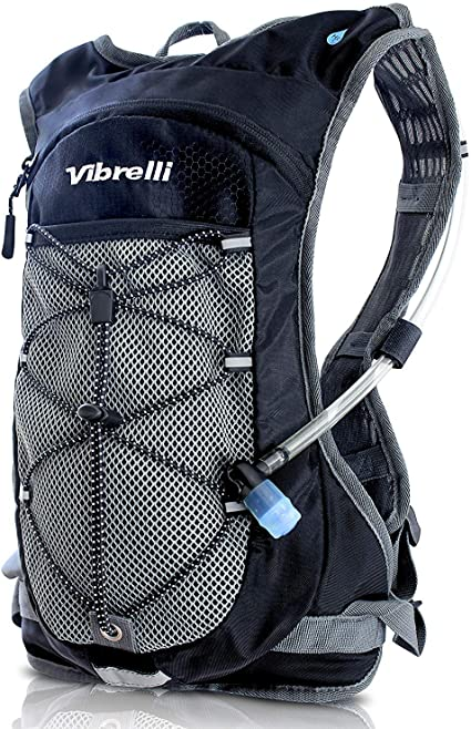 Vibrelli Hydration Pack & 2L Hydration Water Bladder - High Flow Bite Valve - Hydration Backpack with Storage -