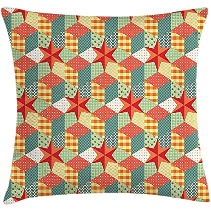 Amazon.com: Patchwork Throw Pillow Cushion Cover ...