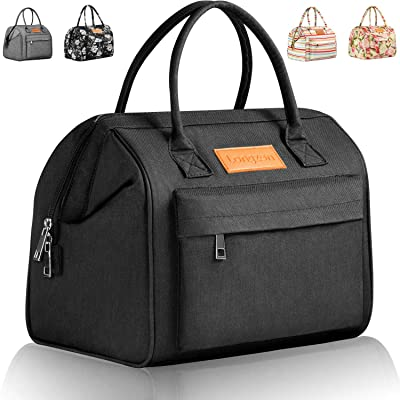 longzon Lunch Bags for Women, Gifts for Women, Portable Insulated Adult Girls Large Cute Lunch Box, Lunch Tote, Work Gifts for Coworker, loncheras para comida adultos Mujer, bolsos de Mujer-Black: Home & Kitchen