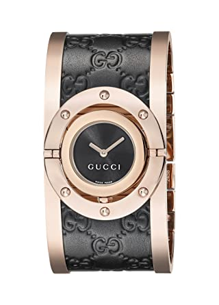 5ef3c692317 Image Unavailable. Image not available for. Color  Gucci Twirl Analog  Display Swiss Quartz Black Women s Watch(Model YA112438)