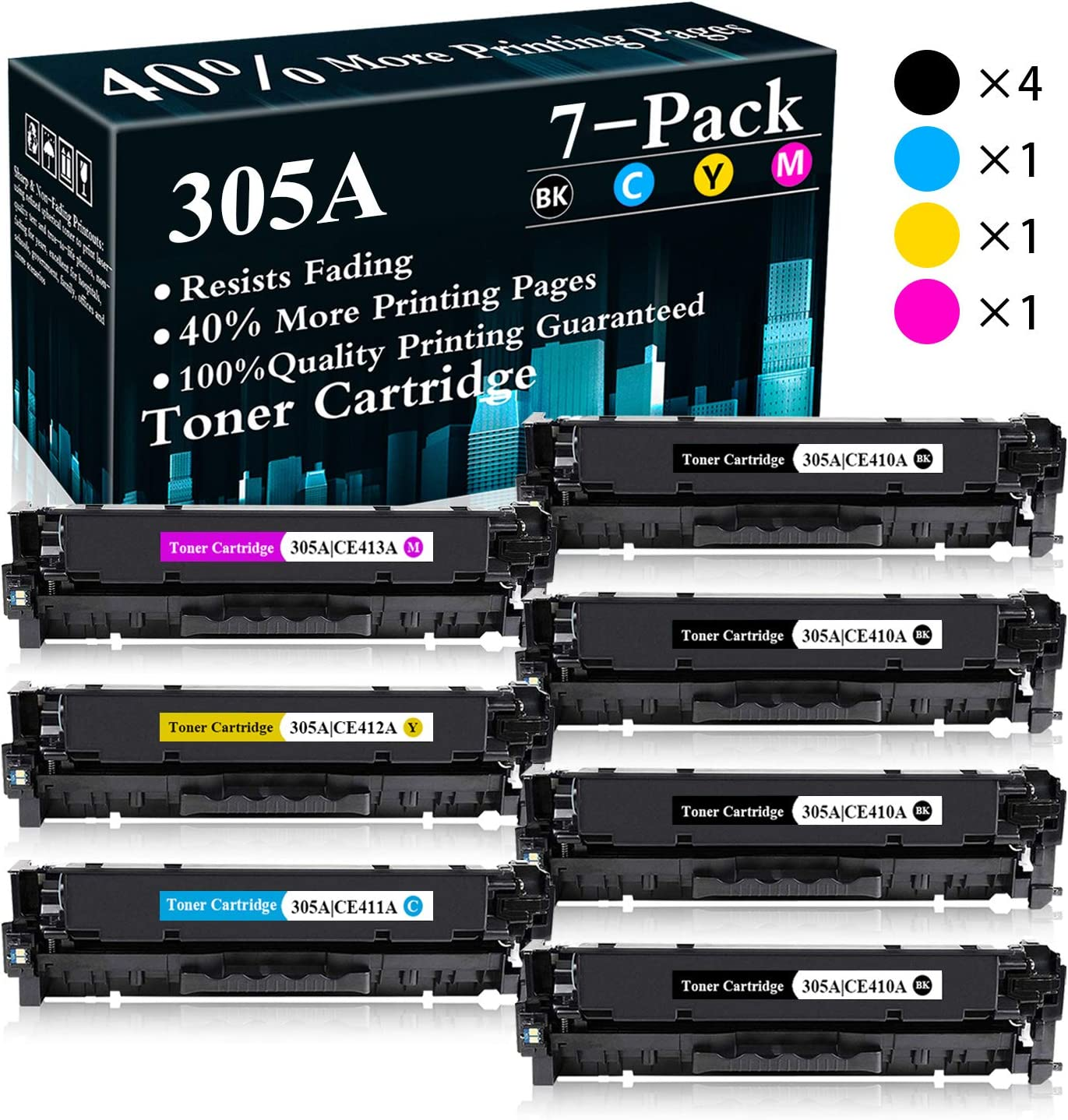 4BK+C+M+Y 7-Pack CE410A CE411A CE412A CE413A Remanufactured Toner Replacement for HP Color Laserjet Pro M351a M451nw M451dn M451dw MFP M475dn MFP M475dw MFP M375nw 305A