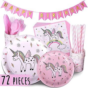 Unicornio rosa arco iris papel taza toalla de papel bandeja de la fiesta de cumpleaños cubiertos