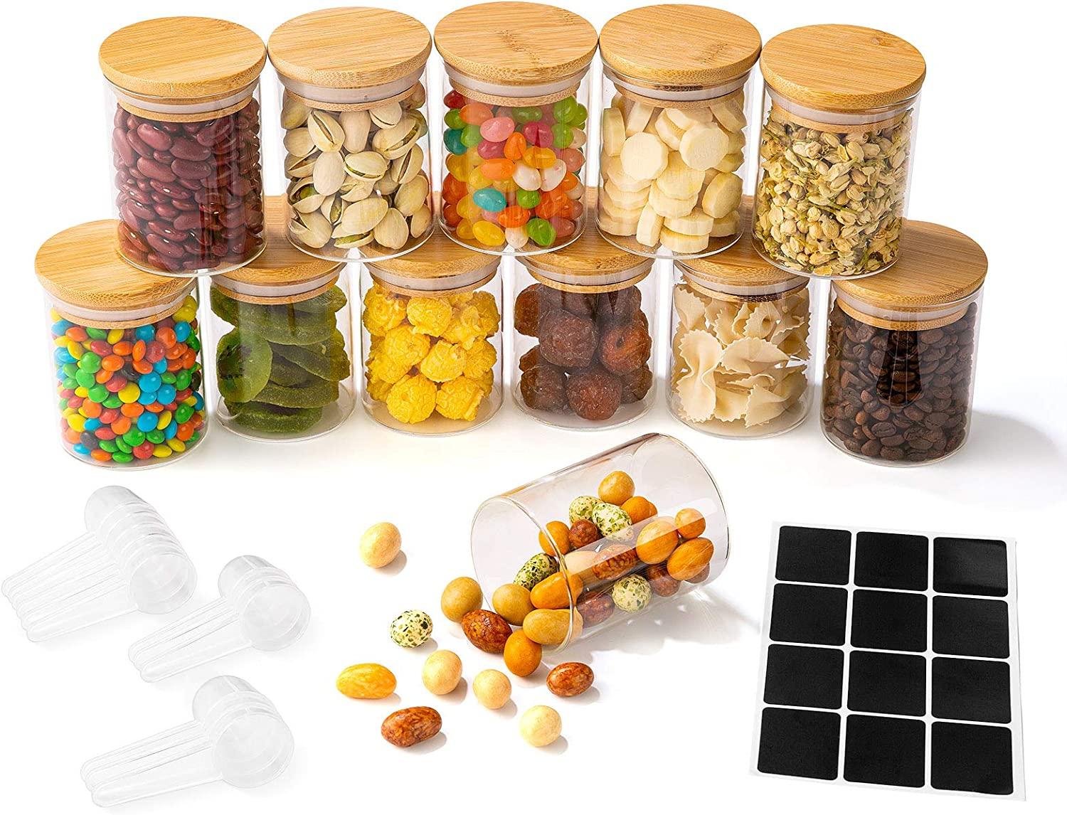 Yangbaga 12 Piece Glass Jars Set, 7oz Glass Jars with Natural Bamboo Lids with 12 Plastic spoons and Labels for Home Kitchen - Tea, Flour, Cookie, Candy & Spices - Small Food Storage Airtight Canister Sets for Kitchen Pantry Organization