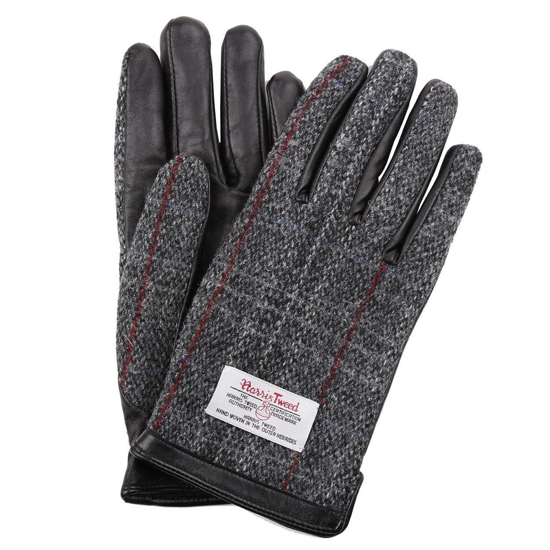 ハリスツイード Harris Tweed スマホ対応 手袋 メンズ レディース レザー B01766BI7E  グレー/チェック S