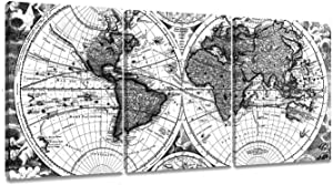 ArtKisser Maps World Painting Vintage Decor Poster Picture Old Scratch Framed World Map Printing Canvas Black and White Wall Art Ready to Hang for Living Room 12''x16'' 3 Piece