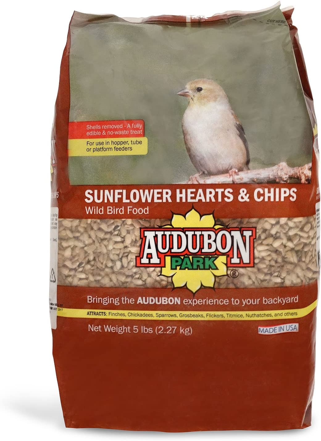 Audubon Park 12224 Sunflower Hearts & Chips Wild Bird Food, 5-Pounds