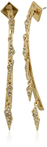 Alexis Bittar Crystal Encrusted Dangling Futurist Post Gold Earrings