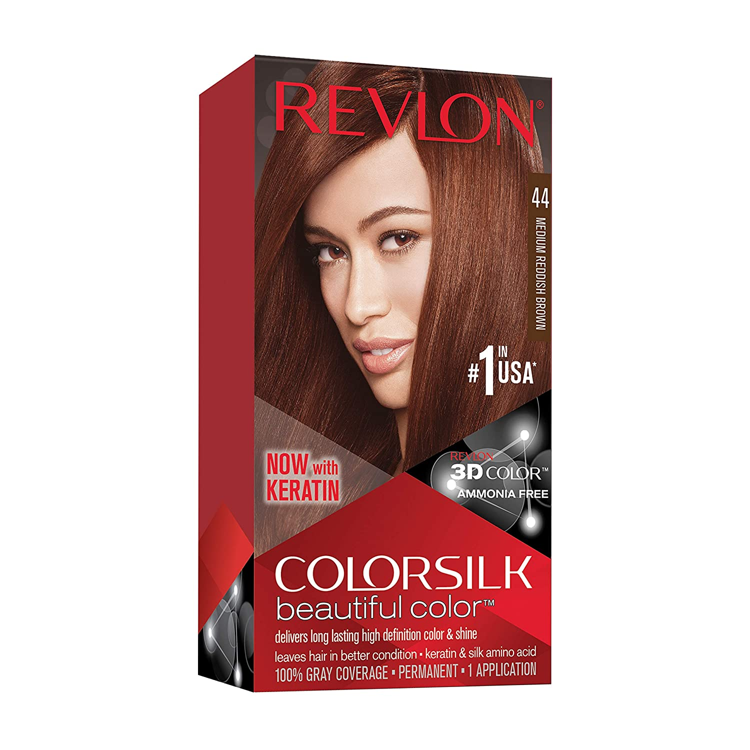 Revlon Colorsilk Beautiful Color, Permanent Hair Dye with Keratin, 100% Gray Coverage, Ammonia Free, 44 Medium Reddish Brown