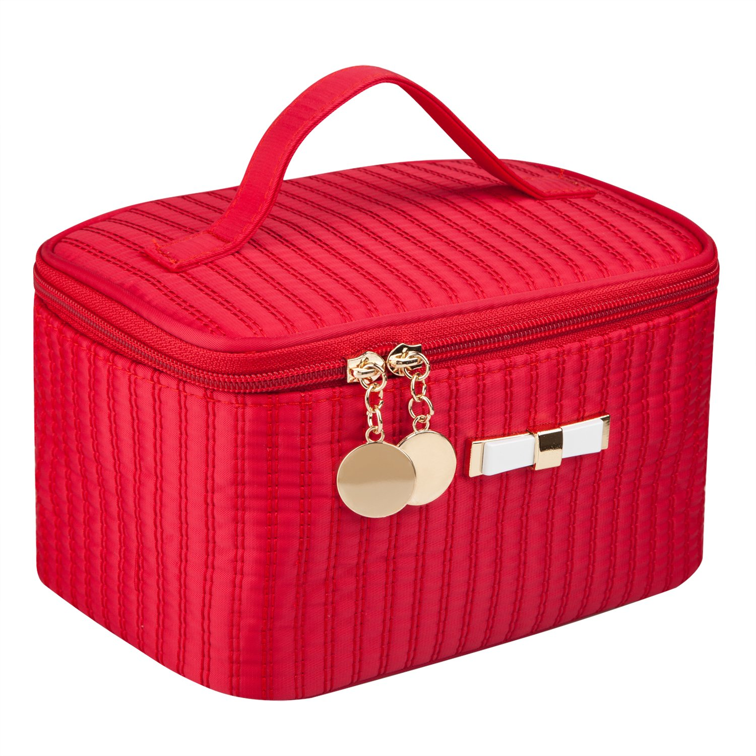 "EN'DA Portable Cosmetic Toiletry Bags Cute Makeup Travel Bags with Mirror 7.9"" (Red)"