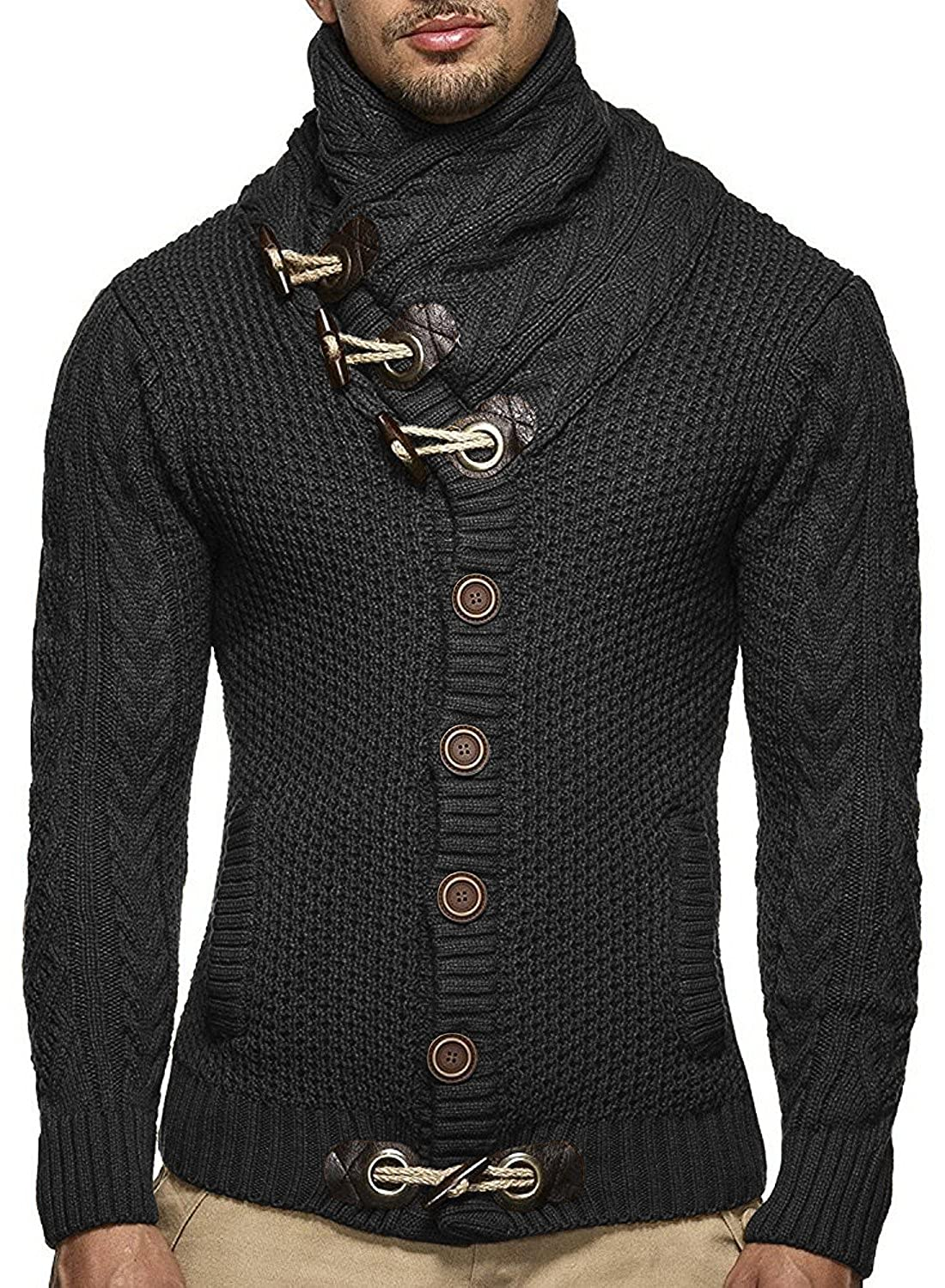 bb1b61fd281 Daomumen Sweaters for Men Cardigan Cable Knit Long Oversized Chunky Open  Front Big and Tall with Pockets