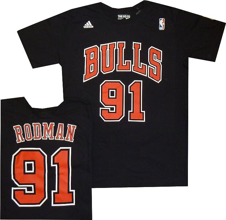 5658d79d190 Amazon.com  Adidas Chicago Bulls Dennis Rodman Throwback Black T ...